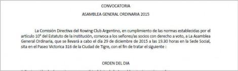 Convocatoria Asamblea General Ordinaria 2015